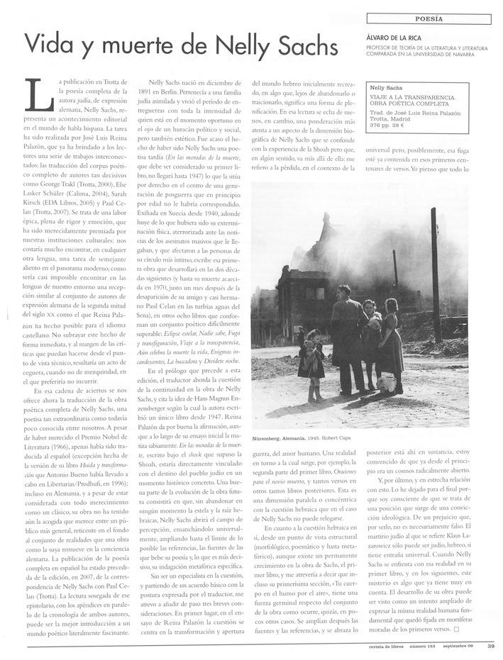 Vida y muerte de Nelly Sachs (Revista de Libros), septiembre de 2009